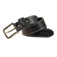 BSA 5002 Full Grain Leather Belt - Black/Silver