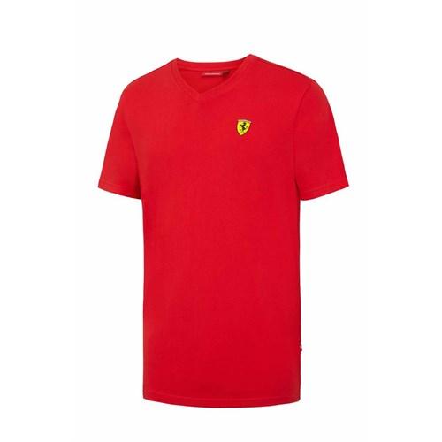 17991f5d0d445 Ferrari Mens V-neck T-shirt - Red (FER362)