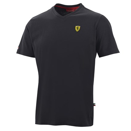Ferrari Mens V-neck T-shirt - Blk