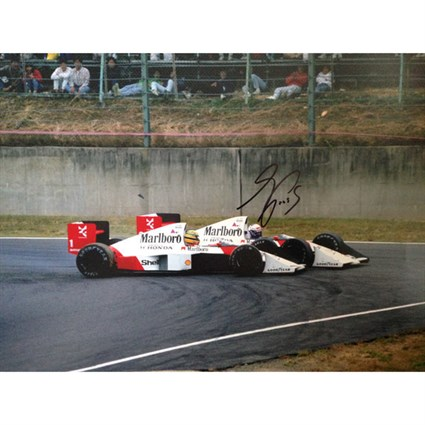 Alain and Ayrton 'Knock for Knock' Suzuka 1989 signed photo