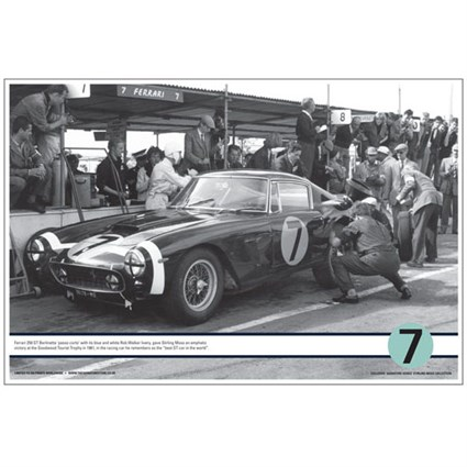 Goodwood pits' Ferrari 250GT SWB print signed by Stirling Moss