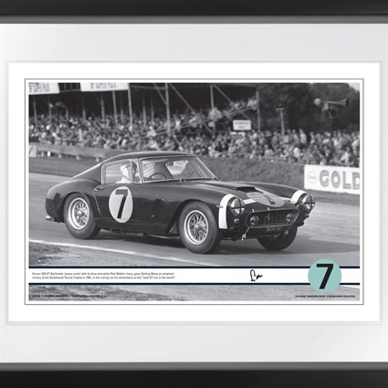 Goodwood race' Ferrari 250GT SWB print signed by Stirling Moss