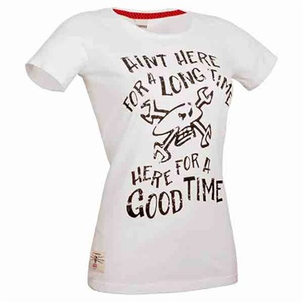 Red Torpedo Here For A Good Time ladies T-shirt in white