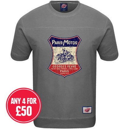 Retro Legends Paris Motos T-sweat in grey