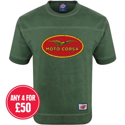 Retro Legends Moto Corsa T-sweat in green