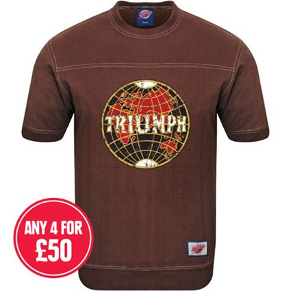 Retro Legends Classic Triumph T-sweat in brown