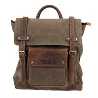 BSA Scrambler Full Grain Leather And Canvas Backpack