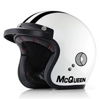 Bell motorcycle helmet in white: replica of that worn by the actor and racer Steve McQueen in the documentary film On Any Sunday