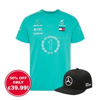 Mercedes AMG 2018 Hamilton Race Winning T shirt and Flat Brim Cap Bundle