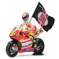 Minichamps Ducati Desmosedici GP 11.2 Tribute To Marco w. Figure & Flag - 2011 Moto GP - #46 V. Rossi 1:12
