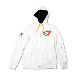 Dani Pedrosa ladies zip hoodie in white