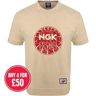 Retro Legends Ngk Spark Plugs T-sweat in cream