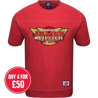 Retro Legends Classic James Motorcycle T-sweat in red